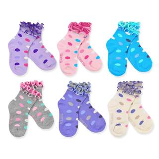 Naartjie Kid's Cotton Double Ruffle Multi-colored 6-pair Pack Crew Socks