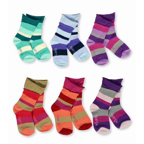 Naartjie Girls Kid Indian Stripe/ Love ruffle/ Polka-dot Roll Top Multi-colored 6-pack Crew Socks