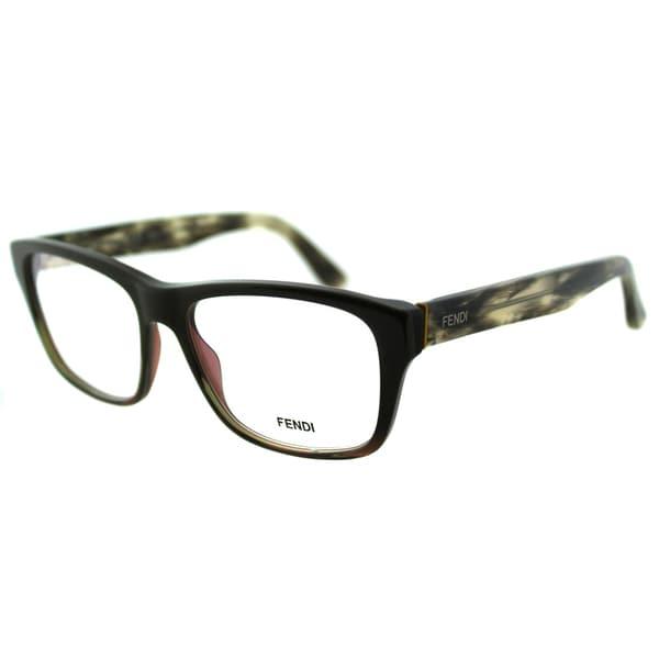 Fendi Unisex FE 1026 317 Military Grey Square Plastic Eyeglasses
