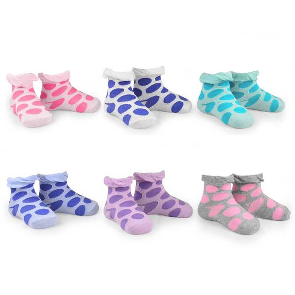 Naartjie Girl's Baby Large Dots Ruffle Cotton Multi-colored 6-pair Pack Crew Socks