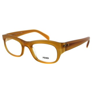 Fendi Unisex FE 867 216 Transparent Amber Plastic Rectangle Eyeglasses