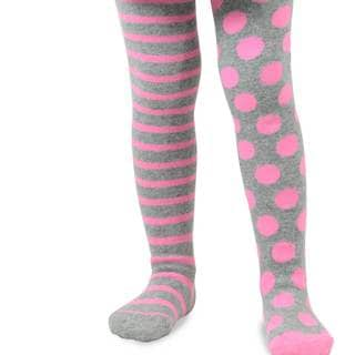 Naartjie Girl's Heather Grey Stripes with Dots Tight (6-12 Months)