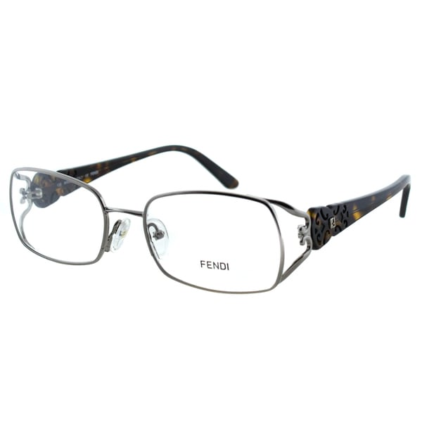 f6c16cea415b Shop Fendi Women s FE 872 036 Gunmetal Rectangle Metal Eyeglasses ...