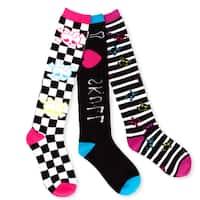 TeeHee Junior and Women's Skull Socks Fun Multi-colored 3-pair Pack Knee High Socks