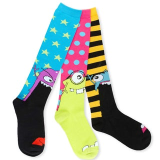 TeeHee Junior and Women's Monster Socks Fun Cotton Multi-colored 3-pair Pack Knee High Socks
