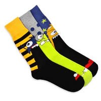 TeeHee Men's Monster Socks Fun Socks Multi-colored 3-pair Pack Cotton Crew Socks