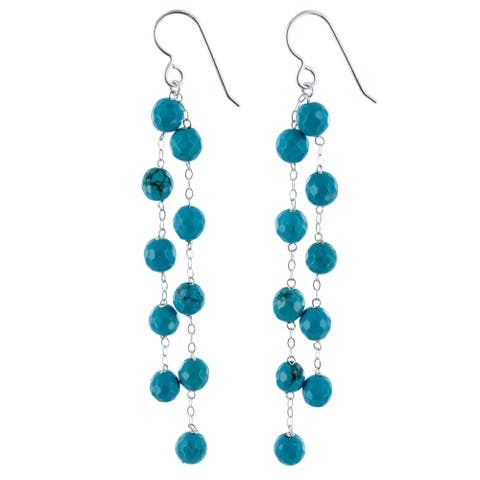 Turquoise Howlite Silver Chandelier Handmade Earrings
