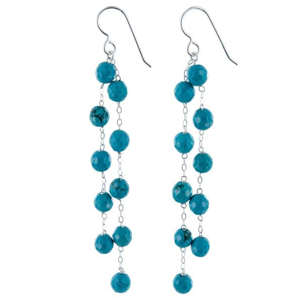 Turquoise Howlite Silver Chandelier Handmade Earrings. Opens flyout.