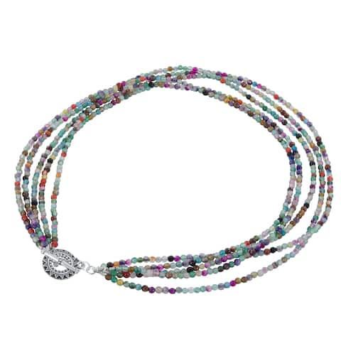 Multi Color Agate Sterling Silver Pewter Multi Strand Necklacee Strand