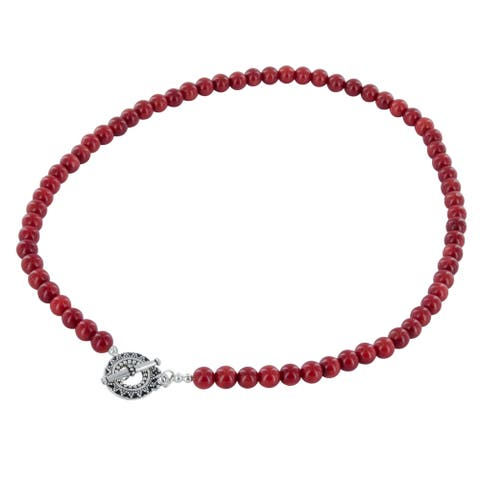 Handmade Ashanti Red Coral Bamboo Sterling Silver Necklace with Pewter Toggle Clasp (Sri Lanka)