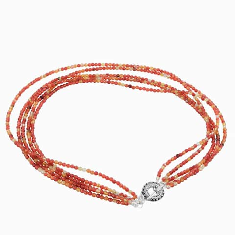 Ashanti Orange Agate Sterling Silver Pewter Multi Strand Necklace with Pewter Toggle Clasp