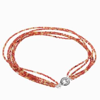 Handmade Ashanti Orange Agate Sterling Silver Pewter Multi Strand Necklace with Pewter Toggle Clasp (Sri Lanka)