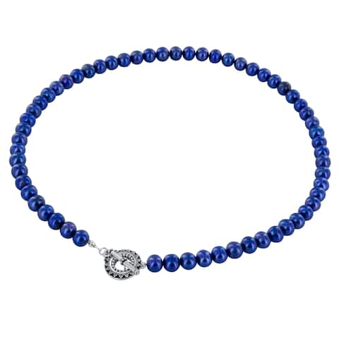 Indigo Blue Freshwater Pearl Sterling Silver Handmade 18-Inch Necklace