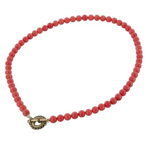 Ashanti Coral Bamboo 14 Karat Gold Filled Handmade Necklace (Sri Lanka)