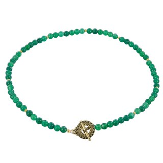 Handmade Ashanti Emerald Green Agate Gold-Filled Handmade Necklace (Sri Lanka)