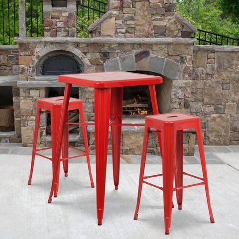 "23.75SQ Metal Bar Table Set - 27.75""W x 27.75""D x 40""H"