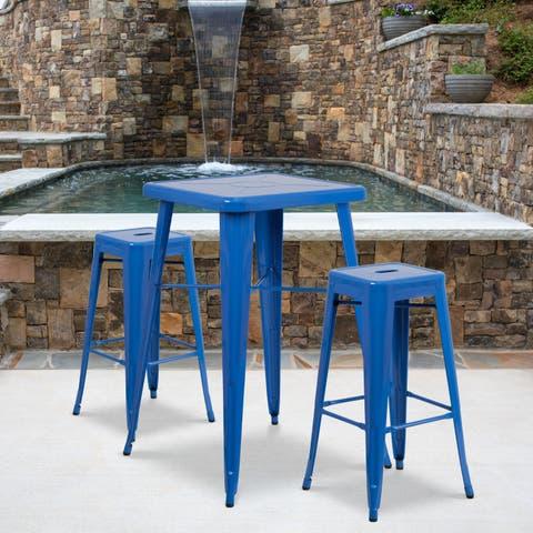 Metal Indoor/Outdoor Bar Table Set