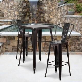 Black-Antique Gold Metal Indoor-Outdoor Bar Table Set with 2 Barstools  sc 1 st  Overstock.com & Bar \u0026 Pub Table Sets For Less | Overstock.com