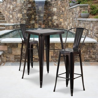 Black-Antique Gold Metal Indoor-Outdoor Bar Table Set with 2 Barstools