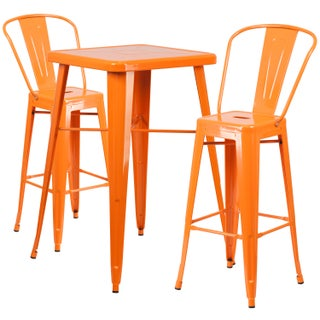 Carbon Loft Fowler Metal Indoor-Outdoor Bar Table Set with 2 Barstools (Option: Orange)