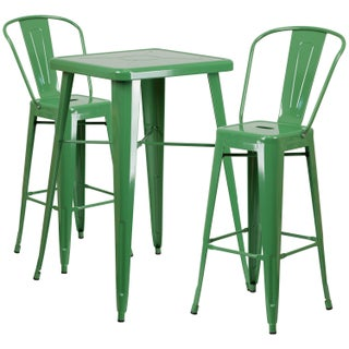 Carbon Loft Fowler Metal Indoor-Outdoor Bar Table Set with 2 Barstools (Option: Green)