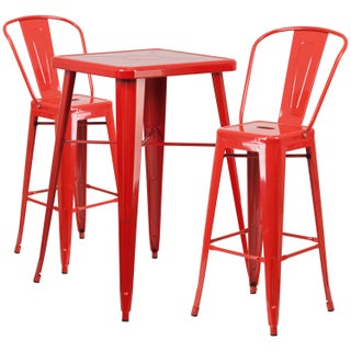 Carbon Loft Fowler Metal Indoor-Outdoor Bar Table Set with 2 Barstools (Option: Red)
