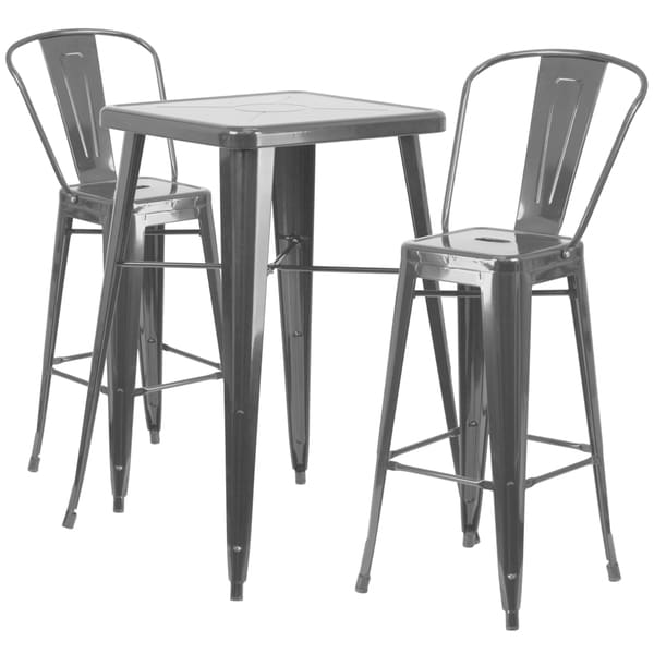 Carbon Loft Fowler Metal Indoor Outdoor Bar Table Set With 2 Barstools