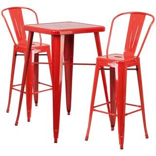 Metal Indoor-Outdoor Bar Table Set with 2 Barstools