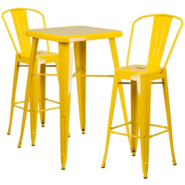 metal bar table set with 2 barstools free shipping today