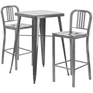 Metal Indoor-Outdoor Bar Table Set with 2 Vertical Slat Back Barstools