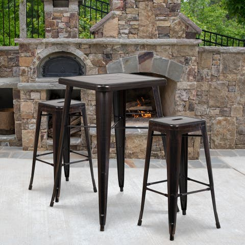 23.75'' Square Metal Indoor-Outdoor Bar Table Set with 2 Square Seat Backless Stools