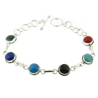 Handcrafted Sterling Silver Polished Round Gemstones Link Toggle Bracelet (Mexico)