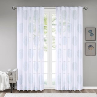 Madison Park Isla Sheer Branch Flocking Curtain Panel