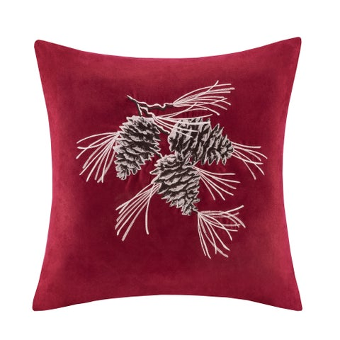 Madison Park Pine Cone Embroidered Suede 20-inch Throw Pillow