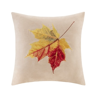 Madison Park Leaf Embroidered Suede 20-inch Throw Pillow