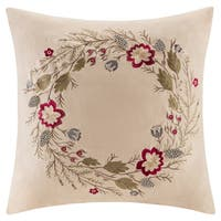 Madison Park Wreath Embroidered Suede 20-inch Throw Pillow