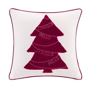 Madison Park Jingle Bells Tree Ivory Velvet 20-inch Throw Square Pillow