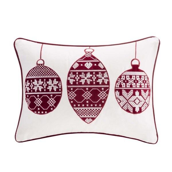 Madison Park Ivory/ Red Ornament Cotton Velvet Oblong Pillow