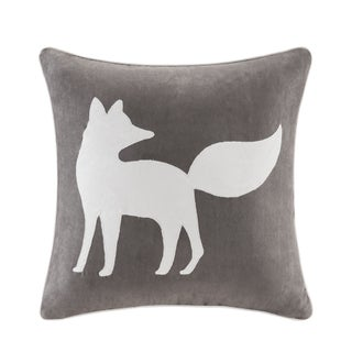 Madison Park Fox Embroidered Suede 20-inch Throw Pillow