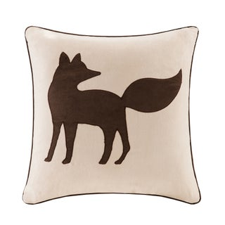 Madison Park Fox Embroidered Suede 20-inch Throw Pillow (Option: Tan)
