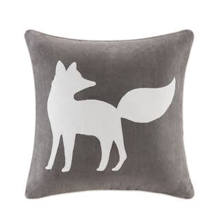 Madison Park Fox Embroidered Suede 20-inch Throw Pillow 2-Color Option