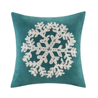 Madison Park Snowflake Embroidered Suede 20-inch Throw Pillow