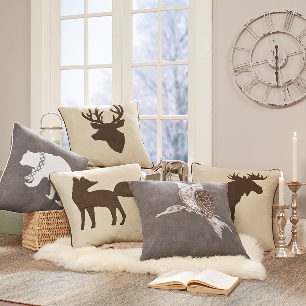 Shop Madison Park Moose Embroidered Suede Square Pillow - 10867890