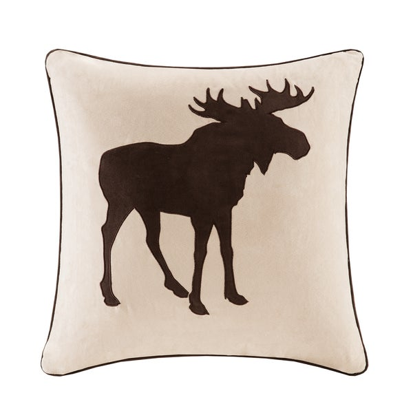 Madison Park Moose Embroidered Suede Square Pillow