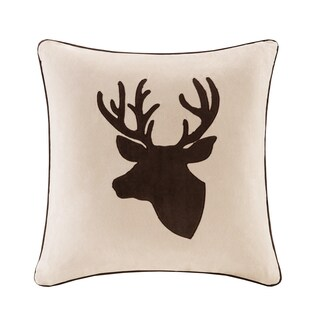 Madison Park Deer Embroidered Suede 20-inch Throw Pillow