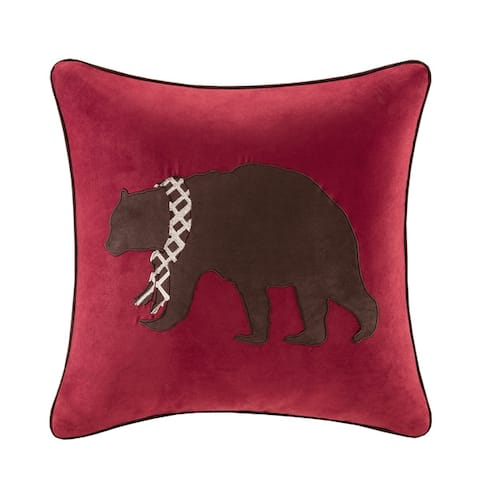 Madison Park Embroidered Bear Throw Pillow 3-Color Option
