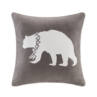 Madison Park Embroidered Bear Throw Pillow