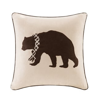 Madison Park Embroidered Bear Throw Pillow (Option: Tan)