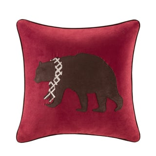 Madison Park Embroidered Bear Throw Pillow (Option: Brown/Red)