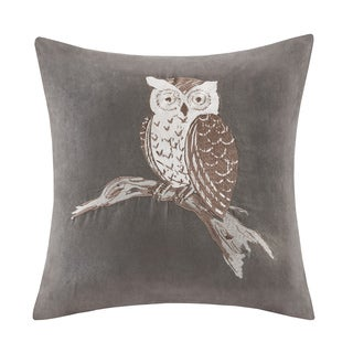 Madison Park Owl Embroidered Suede 20-inch Throw Pillow